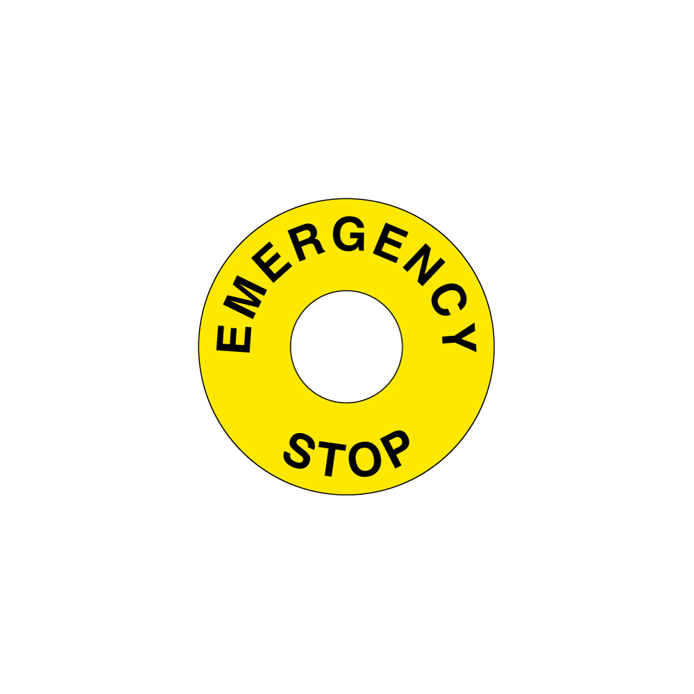 Emergency stop legend plates clarion safety systems emergency stop 60mm circle w225mm hole buycottarizona Images
