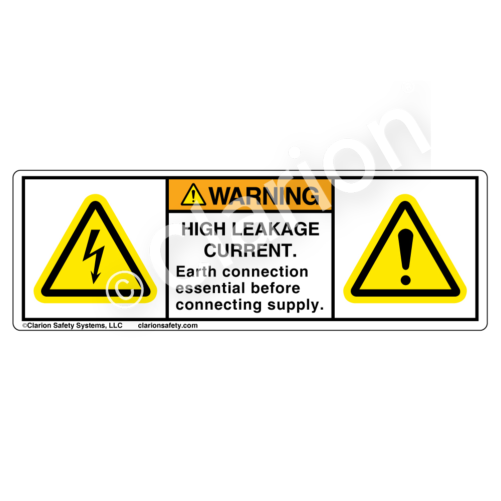 Electrical hazard safety labels clarion safety systems warninghigh leakage current buycottarizona Images
